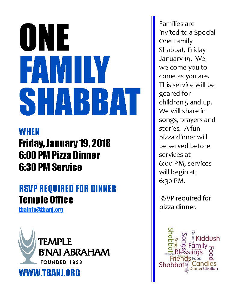 One Family Shabbat Jan.19, 2018final