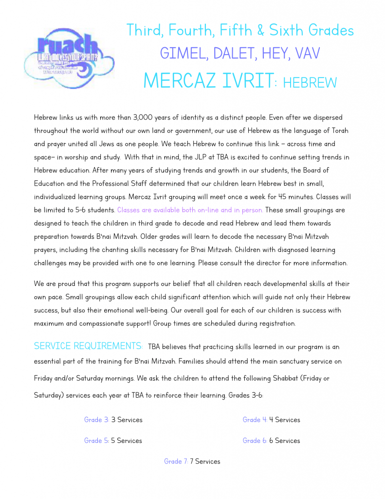 Third, Fourth, Fifth & Sixth Grades hebrew-1