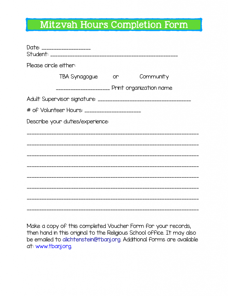 Page 5 Mitzvah Hours Completion Form 2019-2020