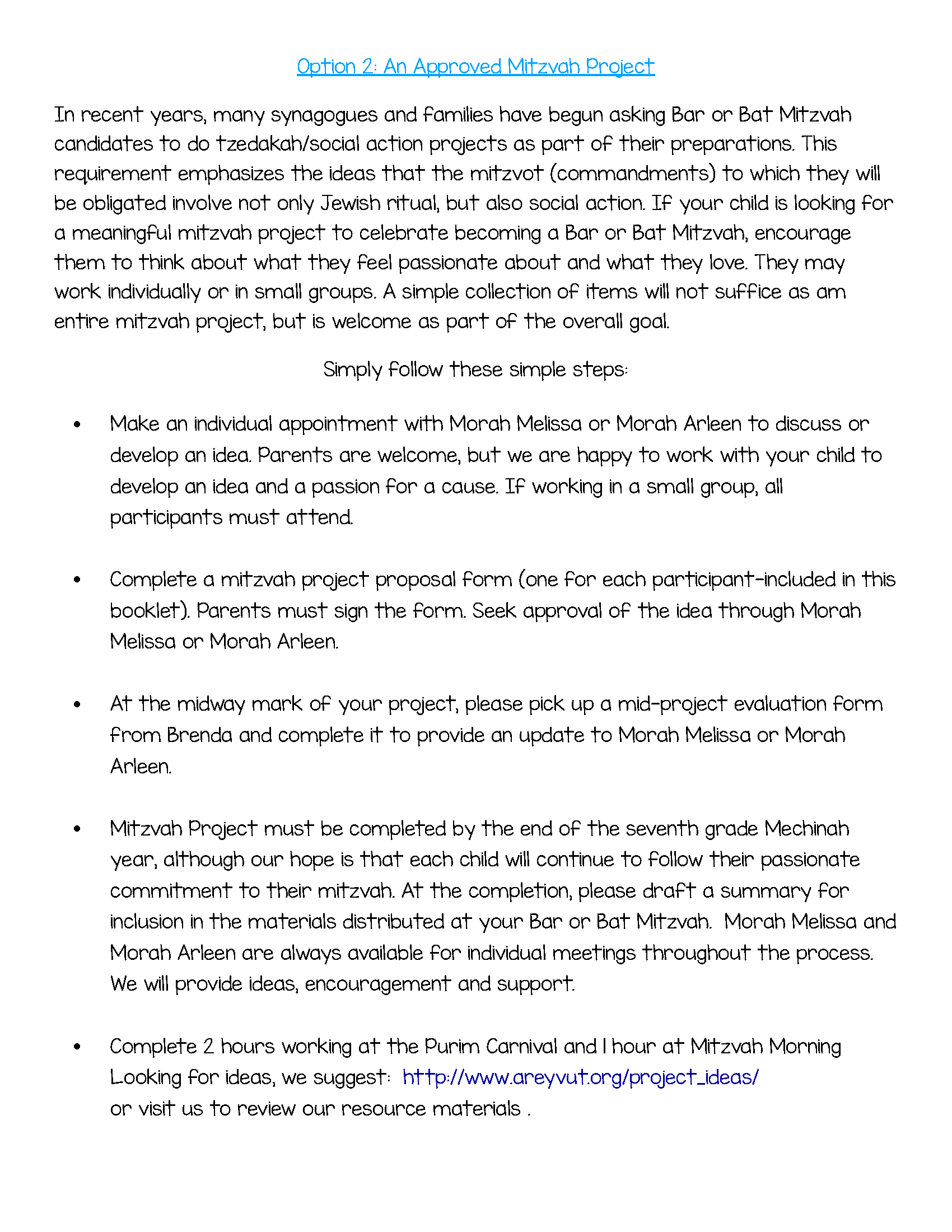 Page 6 Option 2 Approved Mitzvah Project