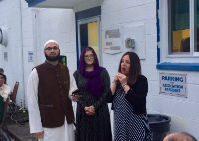 Cantor Epstein with Jamiah Masjid Livingston (JML) leader Faizan Ahmed at their community Iftar celebration, May 25, 2019. with Sherri Goldberg, from the Liv. Committee for Diversity and In