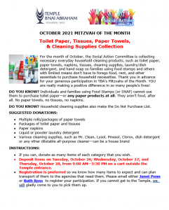 October Mitzvah of the Month
